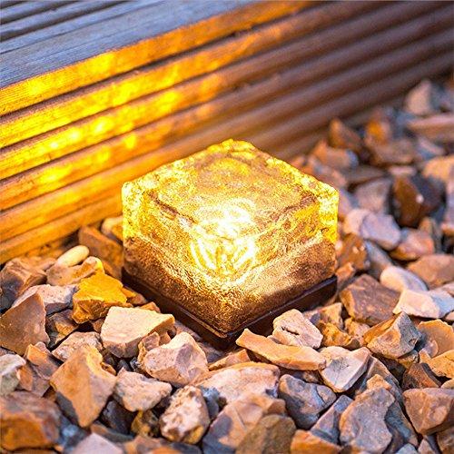 TaStone Lampe de sol étanche à énergie solaire LED pour extérieur en verre de cristal de verre, brique de glace, pelouse, cour, chemin, décoration de jardin, lampe de sécurité blanc chaud