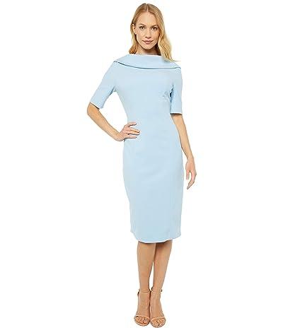 Adrianna Papell Roll Neck Sheath with V Back Dress (Blue Mist) Women