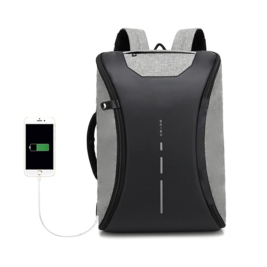 baibu Fashion Men's Laptop Backpack Anti Theft USB Charging Travel Computer Bag Waterproof Sporty Bag Casual Daypack for College Student Bookbag fits Up to 15.6 inches Laptop Tablet Notebook