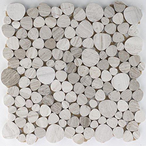 Natursteinmosaik Fliesen grau flusskiesel Wand Boden Dusche WC Küche | 10 Matten | Art: es-65622_f