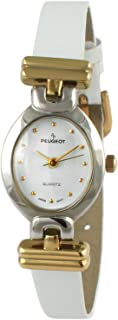 Peugeot Vintage Oval White Leather Watch 380-23