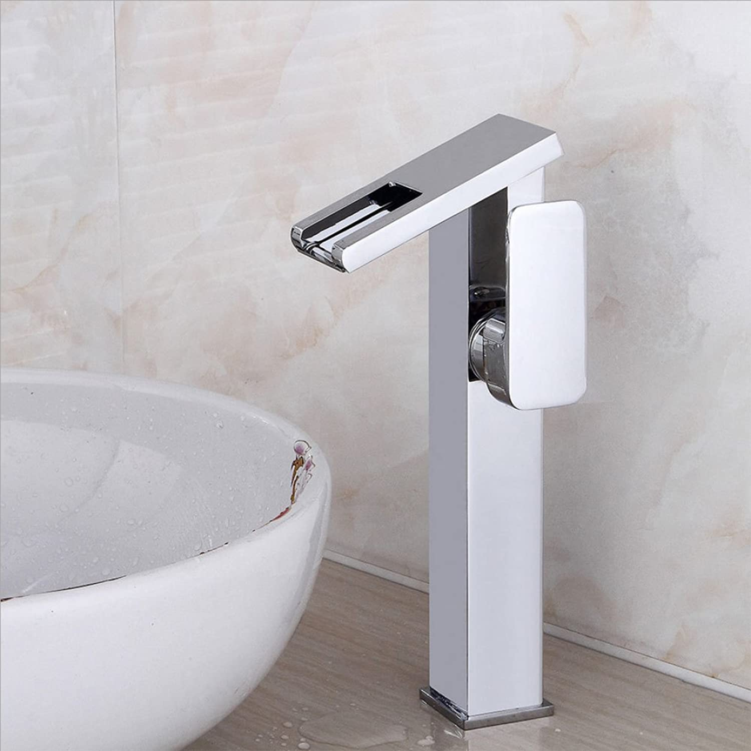 HH faucet plating basin faucet LED waterfall faucet above counter basin hot and cold faucet bathroom single-hole water faucet copper faucet mixing faucet washbasin faucet single-unit