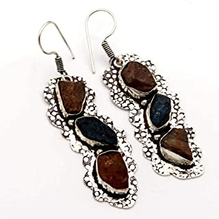 Goyal Crafts Natural Andalusite,Neon Apatite Rough Druzy Earring Silver Plated Jewelry GEB96