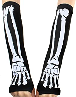 YiTeng Deathrock Skeleton Fingerless Gloves Gothic Punk Rock Arm Warmers