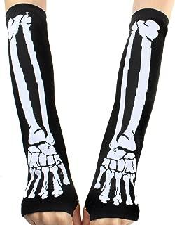YiTeng Deathrock Skeleton Fingerless Gloves Gothic Punk Rock Arm Warmers