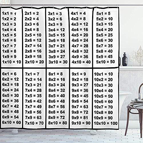 FANCYDAY Wiskunde Klas Decor Douche Gordijn, Berekening Tabel van de Vermenigvuldiging Algebra Studie Grafiek Tel, Zwart Wit