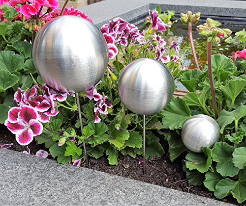 Pflanzstecker 3er Set aus Edelstahl matt gebürstet Beetstecker Gartenstecker