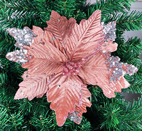 zorpia 6pcs Silk Poinsettias Artificial Christmas Flowers Glitter Poinsettia Christmas Tree Ornaments Artificial Wedding Christmas Tree Flower Wreath Decorations Picks,Pink