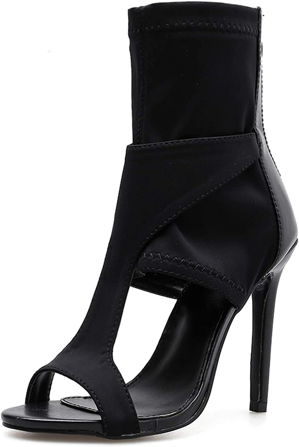 Woman shoes Stretch Fabric High-heelsedl Sandals Boots Thin Heels Open Toe Pumps,Black,4