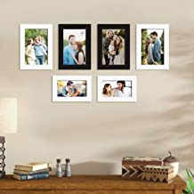 Art Street Bristol Synthetic Wood Wall Photo Frame for Home Decor with Hanging Accessories (Black and White) - Set of 6