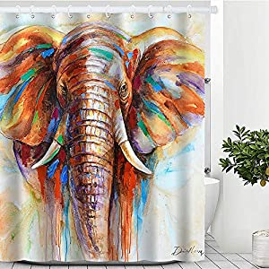 """Artinme Colorful Elephant Painting Art Print Beach Shower Curtain Waterproof Polyester Fabric Shower Curtain Set with Hooks Bathroom Decor 72"""" x 72"""""""