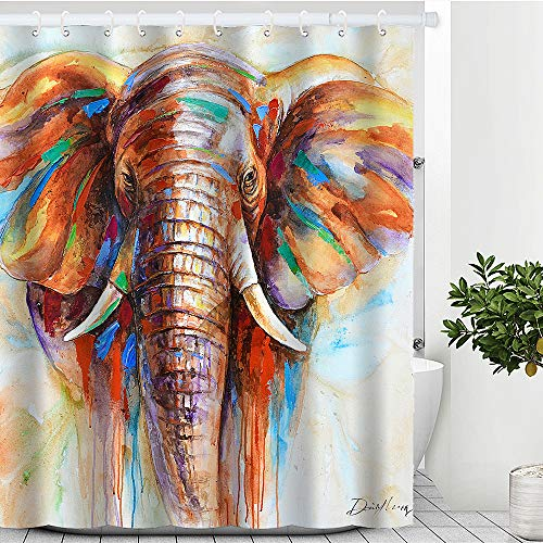 Artinme Elephant Shower Curtain Watercolor Elephant Painting Shower Curtains Animal Art Print Waterproof Shower Curtains Large Elephant Shower Curtain Set with Hooks Bathroom Decor 72' x 72'