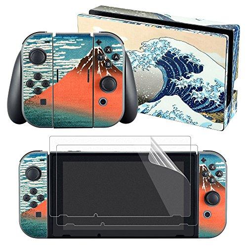 eXtremeRate Sticker Skin Aufkleber Decal Folie Faceplates Klebefolie mit 2 Displayschutzfolie für Nintendo Switch Console&Joy-Con&Dock&Grip(Welle)