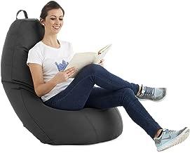 textil-home Puf - Puff Pera XL moldeable - 75x75x120 cm Tejido PVC Alta Resistencia - Doble repunte - (Incluye Relleno Bolas Poliestireno). (Gris)
