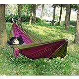 Enjoydeal portátil paracaídas Nylon tela viaje Camping hamaca para dos persona doble (marrón & púrpura)