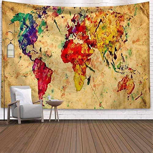 WERT Mapa del Mundo 3D geométrico Tapiz Colgante de Pared Toalla de Playa decoración del hogar Tapiz de Tela de Fondo A4 180x200cm