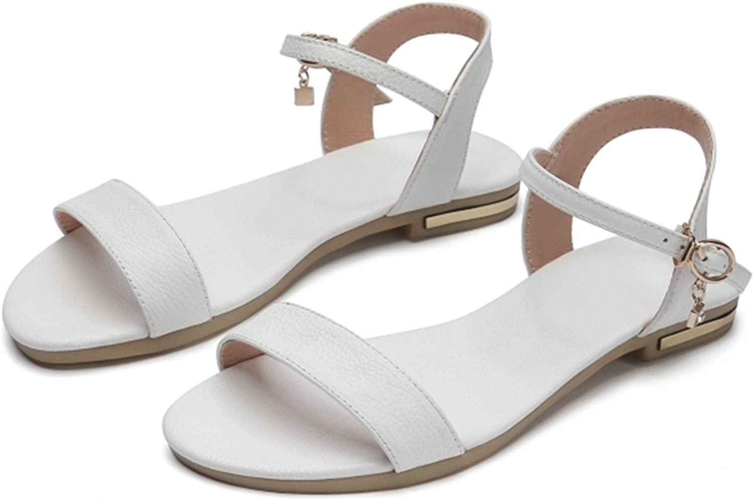 Women Sandals Genuine Leather Soft Rubber Sole Basic Buckle Strap Size 34-43 Women's Summer shoes SS168