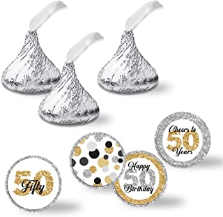 """Confetti Polka Dot 50th Birthday Party Kiss Sticker Labels, 300 Party Circle Sticker sized 0.75"""" for Chocolate Drop Kisses by AmandaCreation, Great for Party Favors, Envelope Seals & Goodie Bags"""