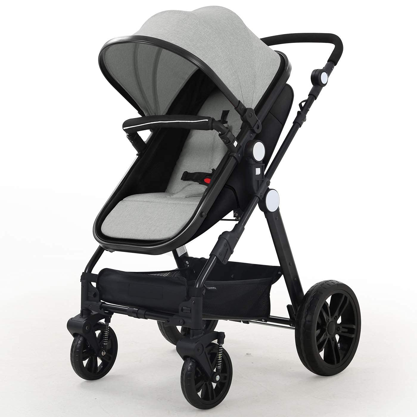 Baby Stroller Newborn Carriage Infant Reversible Bassinet to Luxury Toddler Vista Seat for Boy Girl Compact Single All Terrain Babies Pram Strollers Add Stroller Cover, Cup Holder, Net……