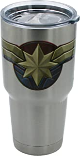 Marvel Big Mouth Tumbler - 30 oz. Stainless Steel Portable Beverage Tumbler - Spill Proof & Double Walled Tumbler, Captain Marvel Shield