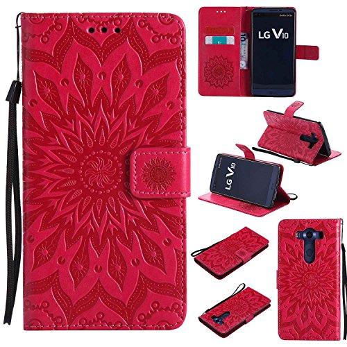 pinlu® PU Leder Tasche Etui Schutzhülle für LG V10 Lederhülle Schale Flip Cover Tasche mit Standfunktion Sonnenblume Muster Hülle (Rot)