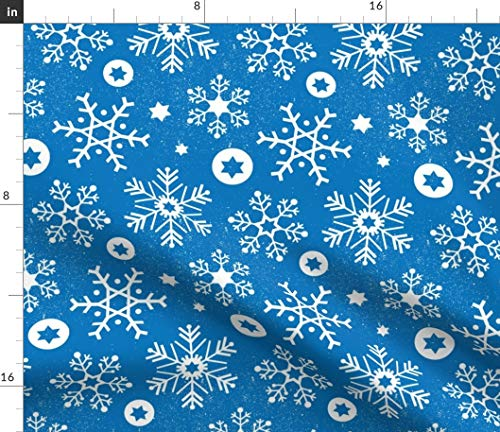 Spoonflower Fabric - Hanukkah Snowflakes Sky Chanukah Festive Holiday Winter Star Table Printed on Cotton Poplin Fabric Fat Quarter - Sewing Shirting Quilting Dresses Apparel Crafts