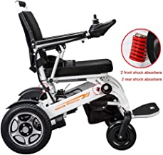 XHNICE Wheelchair Foldable Power Compact Mobility Aid Wheel Chair,19.8Kg Lightweight Carry Electric Wheelchair, Weight Capacity 150Kg,Seat Width 45Cm,4 Shock Absorbers Motorized Wheelchair,White