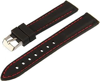 bebb5c852279 Amazon.es: Correa reloj piel negro rojo: Relojes