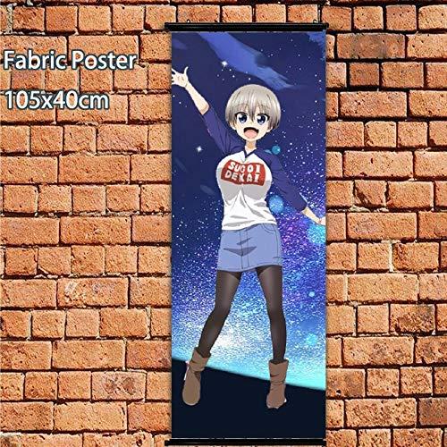 Henanyimeixiang Póster de Anime Uzaki-Chan Quiere Pasar el rato Sugoi Dekai Rollo de Pared 105x40cm Impresiones artísticas decoración de la habitación del hogar DesignB