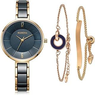 MAMONA Women's Watch & Bracelet Gift Set Ladies Stainless Steel/Ceramic Watch L3887GT