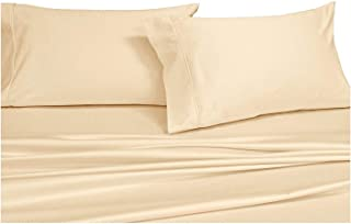 COTTONWALAS #1 Lowest Prices - Mega Sale Hotel Luxury Solid Pattern Heavy Egyptian Cotton 1500 Thread Count 4 Piece Sheet Set Fits Upto 14-18'' Deep Pocket (King, Ivory/Cream)