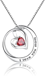 I Love You Mom' Birthstone Heart Cubic Zirconia CZ Pendant Necklace, Gifts for Mom