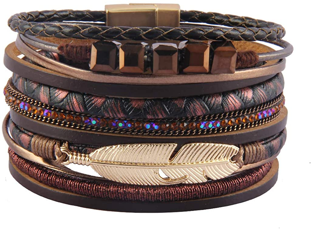 GelConnie Feather Leather Cuff Bracelet Magnetic Multi Strand Bracelet Wrap Bracelet Bohemian Jewelry Gifts for Women, Wife, Sister