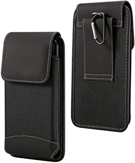 DFV mobile - Belt Case Cover Vertical Design Leather and Nylon for vivo iQOO Neo3 5G (2020)向け - Black