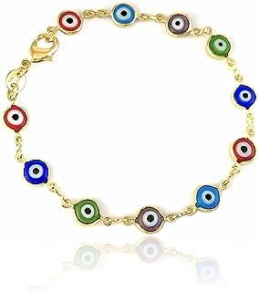 Unisex Evil Eye Bracelet 14k Gold Filled Overlay Plated Multi Color Charm Beads Protection Success Lucky Amulet Kabbalah Greek Nazar Turkish Woman Men Baby Pulsera Ojo Suerte Mujer