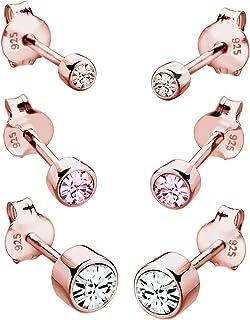 Elli Women's 925 Sterling Silver Rose Gold Plated Swarovski Crystals Stud Earrings