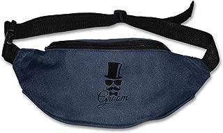 JIESENGTOO Unisex Pockets Black Groom Fanny Pack Waist/Bum Bag Adjustable Belt Bags Running Cycling Fishing Sport Waist Bags Navy-One Size
