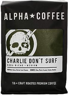 Alpha Coffee – Premium Small Batch Medium Roast   Hawaii Kona Blend for a Smooth Hawaiian Cocoa, Buttery Light Caramel Flavor   CHARLIE DON'T SURF – KONA BLEND 1lb/16oz Drip Grind