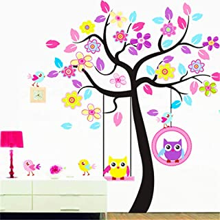 Cute Owl Tree Flower kids wall sticker removable wall stickers