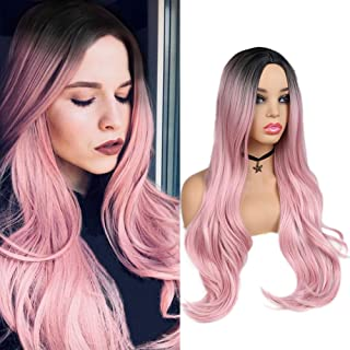 WIGER Ombre Pink Wig Dark Roots Middle Part Long Natural Hair Wigs Heat Resistant Synthetic Daily Party Cosplay Full Wigs for Women Girls