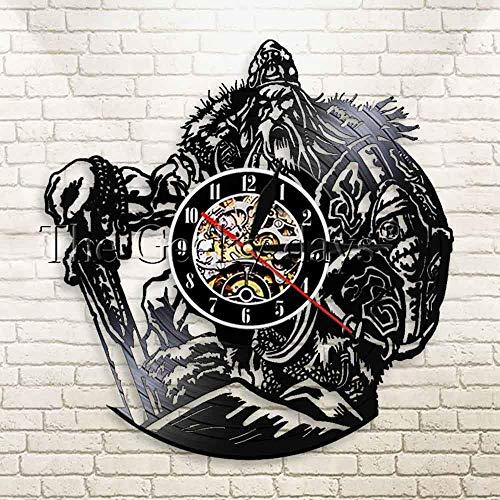 Nordische Mythologie Wikinger Schwert und Schild LED Beleuchtung Wanduhr Zeus Altgriechische Mythologie 3D Vinyl Hintergrundbeleuchtung Schallplattenuhr
