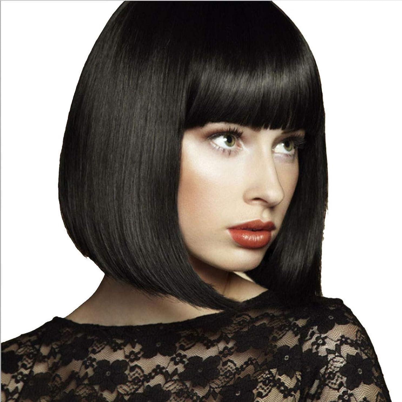 シンプルさ大西洋計算可能Doyvanntgo かつら 女性 ウィッグ 直髪 ショートカット 黒 耐熱 長さ35cm (Color : ブラック)