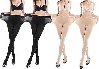 pantimedias para mujer 4 pares control superior medias 15 Denier medias largas leggings reforzados