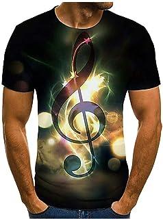 LANSKIRT Camiseta Hombre Manga Corta con Estampado 3D Music Note Flame Unisex Camisa Tops de Verano Talla Grande S-XXXL