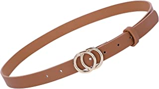 Women's Leather Skinny Belts for Dress Jeans Pants Fashion Leather Belt with Double O Ring Buckle