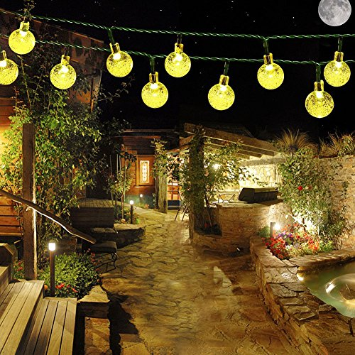 Samoleus Catene Luminose Solare 6M 30 LEDs, Stringa di Luci da Esterno Illuminazione Decorativa Luci Natale LED (Bianco caldo-N)