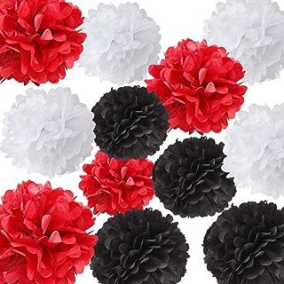 12pcs Blanco Negro Rojo Color mezclado Papel de seda Pom Poms Tejido Pom Pom Papel Bola de flores Decoración Bola de tejidos Decoración de papel para Ladybug Fiesta de cumpleaños Decoración
