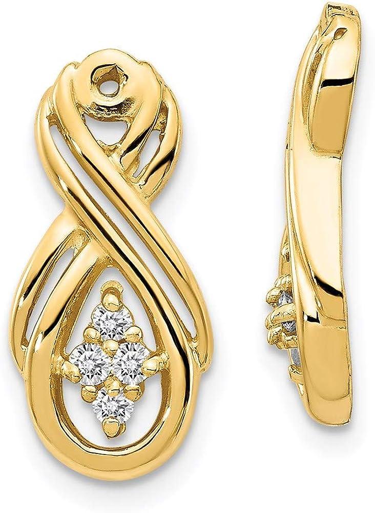 14k Infinity Diamond Earring Jackets Mountings 18mm 8mm style XJ29
