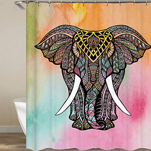 Ritte 1 StÜcke Totem Elefanten Duschvorhang, Mehrfarbige Elefanten Duschvorhang, Wasserdicht Mehltau Polyester Beständig Duschvorhangvorhang Für Badzubehör