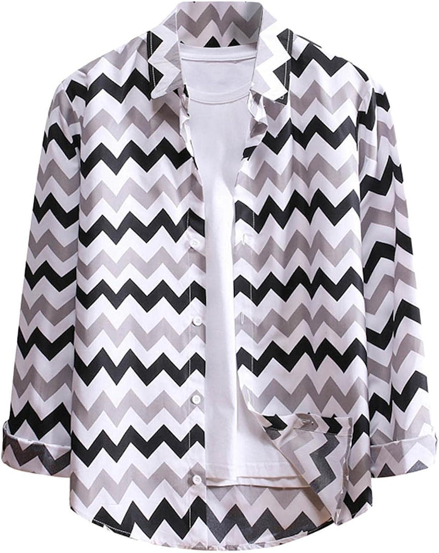 Huangse Men's Fashion Wave Striped Long Sleeve Turn-Down Collar Shirt Casual Regular Fit Button Down Beach Shirts